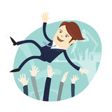 Happy business man wearing suit threw in the air by his team Col. Vector illustration Happy business man wearing suit threw in the air by his team Colleagues Royalty Free Stock Images