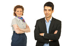 Happy business man and woman Stock Photos