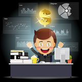 Happy business man working on computer with data processing Royalty Free Stock Photos