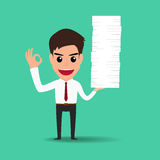 Happy business man working hard Royalty Free Stock Photos