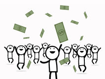 Happy business men getting a lot of money. Royalty Free Stock Image