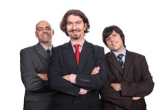 Happy business men smiling Stock Image