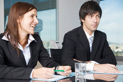 Happy business negotiatons Stock Images