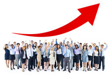 Happy Business People with Arms Raised and Arrow Above Stock Photos