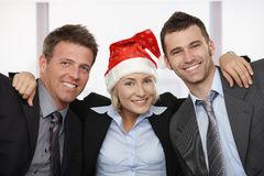 Happy business people at Christmas Royalty Free Stock Photos