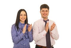 Happy business people clapping Stock Image