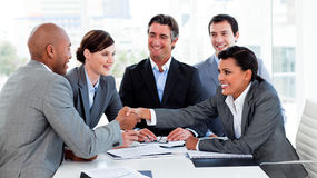 Free Happy Business People Closing A Deal Royalty Free Stock Photography - 12025427