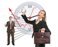 Happy business people in different postures Stock Photo