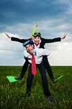 Happy business people going to vacation Stock Images