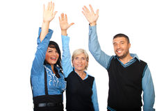 Happy business people with hands up Stock Photography