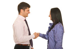 Happy business people handshake Stock Images