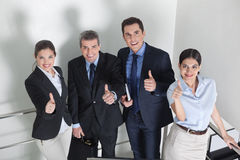 Happy business people holding Stock Photos