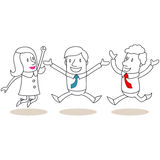 Happy business people jumping and celebrating Royalty Free Stock Image