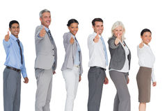 Happy business people looking at camera with thumbs up Royalty Free Stock Photo