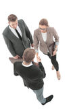 Happy Business People Making Handshake  Isolated On White