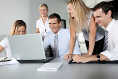 Happy business people in a meeting Royalty Free Stock Photos