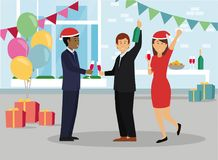 Happy business people in Santa hat at office party. royalty free illustration