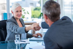 Happy business people shaking hands Stock Images