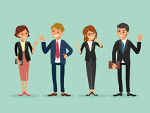 Happy business people standing cartoon illustration Stock Images