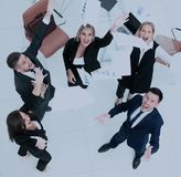 Happy business people throw into the air the documents. Successful business team throws into the air the documents Stock Image