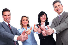 Happy business people with thumbs. Royalty Free Stock Images