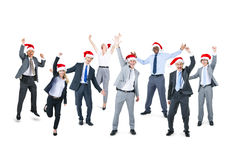 Happy Business People Wearing Santa Hat Stock Photo