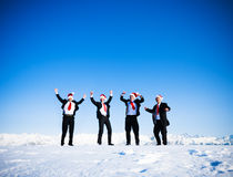 Happy Business People in Wintertime Stock Images