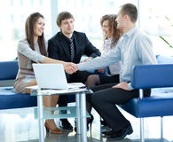 Happy business people working Stock Images