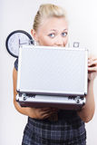 Happy business person with briefcase bonus Stock Photo