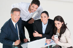 Happy business team stock photo