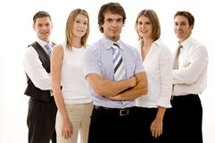 Happy Business Team. Five confident business people (shallow depth of field used Royalty Free Stock Photos