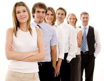 Happy Business Team. A smiling group of business people in a line (Shallow depth of field used Stock Photography