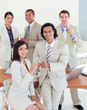 Happy business team celebrating a success Royalty Free Stock Image