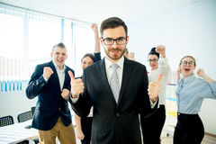 Happy business team. Is glad after they had success Royalty Free Stock Photography