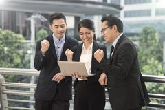 Happy business team for goal. concept celebration success. For work Stock Photos