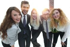 Closeup.happy business team looking at camera. Happy business team looking at camera. the concept of teamwork Royalty Free Stock Photography