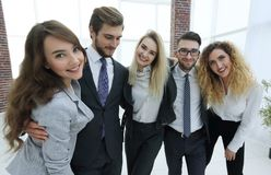 Closeup.happy business team looking at camera. Happy business team looking at camera. the concept of teamwork Stock Photo