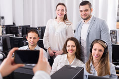 Happy business team making photo Stock Photography