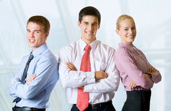 Happy business team at office. Happy successful business team at office Stock Photos