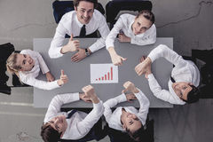 Happy business team with report Stock Photos
