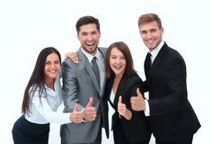 Happy business team showing thumb up.i. Solated on a white background Stock Image