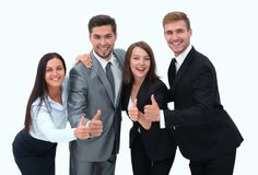 Happy business team showing thumb up.i. Solated on a white background Royalty Free Stock Photography