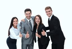 Happy business team showing thumb up.i. Solated on a white background Royalty Free Stock Images