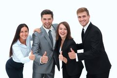 Happy business team showing thumb up.i. Solated on a white background Royalty Free Stock Photo