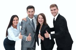Happy business team showing thumb up.i. Solated on a white background Stock Photography
