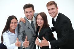 Happy business team showing thumb up.i. Solated on a white background Stock Photos