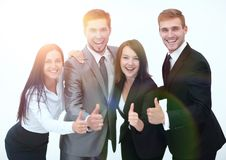 Happy business team showing thumb up.i. Solated on a white background Royalty Free Stock Image
