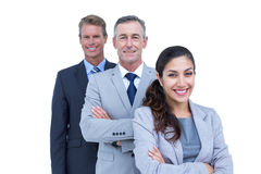 Happy business team standing in a line Royalty Free Stock Image