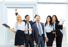 Happy business team. After the successful completion of a business transaction Royalty Free Stock Photos