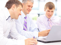Happy business team talking Royalty Free Stock Photos